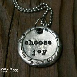 Choose Joy Pewter Wax Seal Necklace